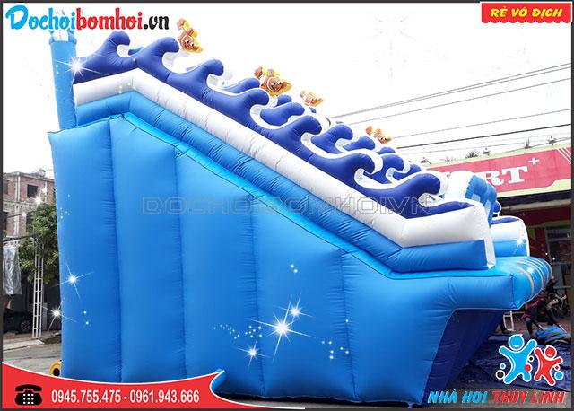 nhà hơi trượt nước cá voi xanh