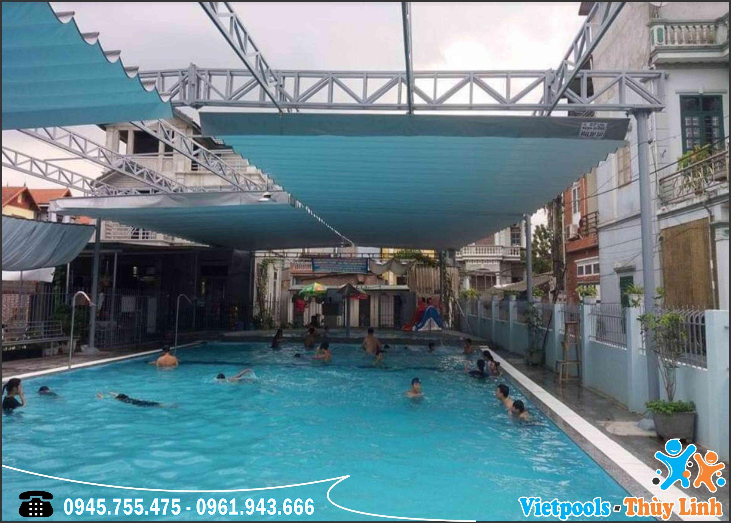 Hoàn thiện Bể Bơi Xây Gạch, Dán Bạt Nhựa PVC Chỉ Với 2 Ngày