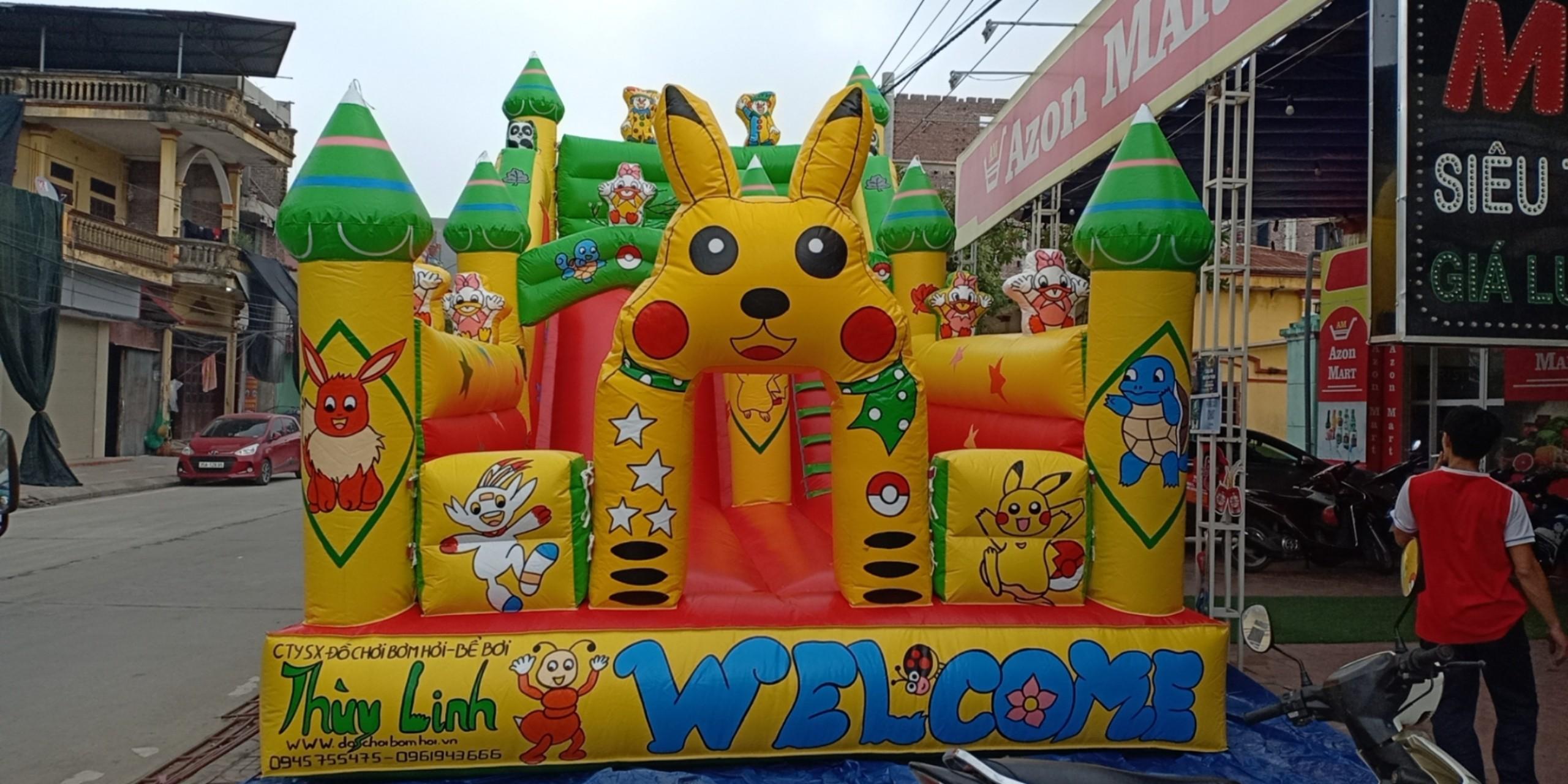 Nhà Hơi Lâu Đài Pikachu Dễ Thương 4,2m x 8m
