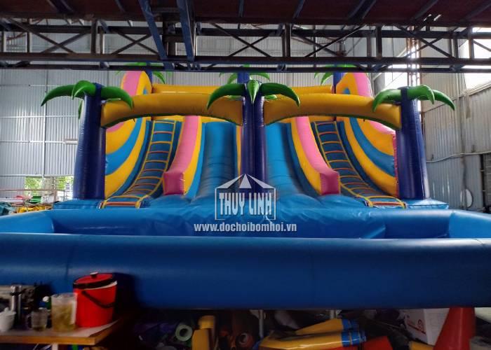 Nhà Hơi Trượt Nước Bể Bơm Hơi 6,2m x 8m