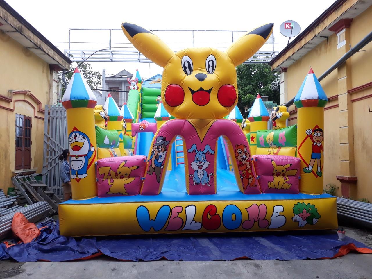 Nhà Phao Lâu Đài Bơm Hơi Pikachu 5m x 10m
