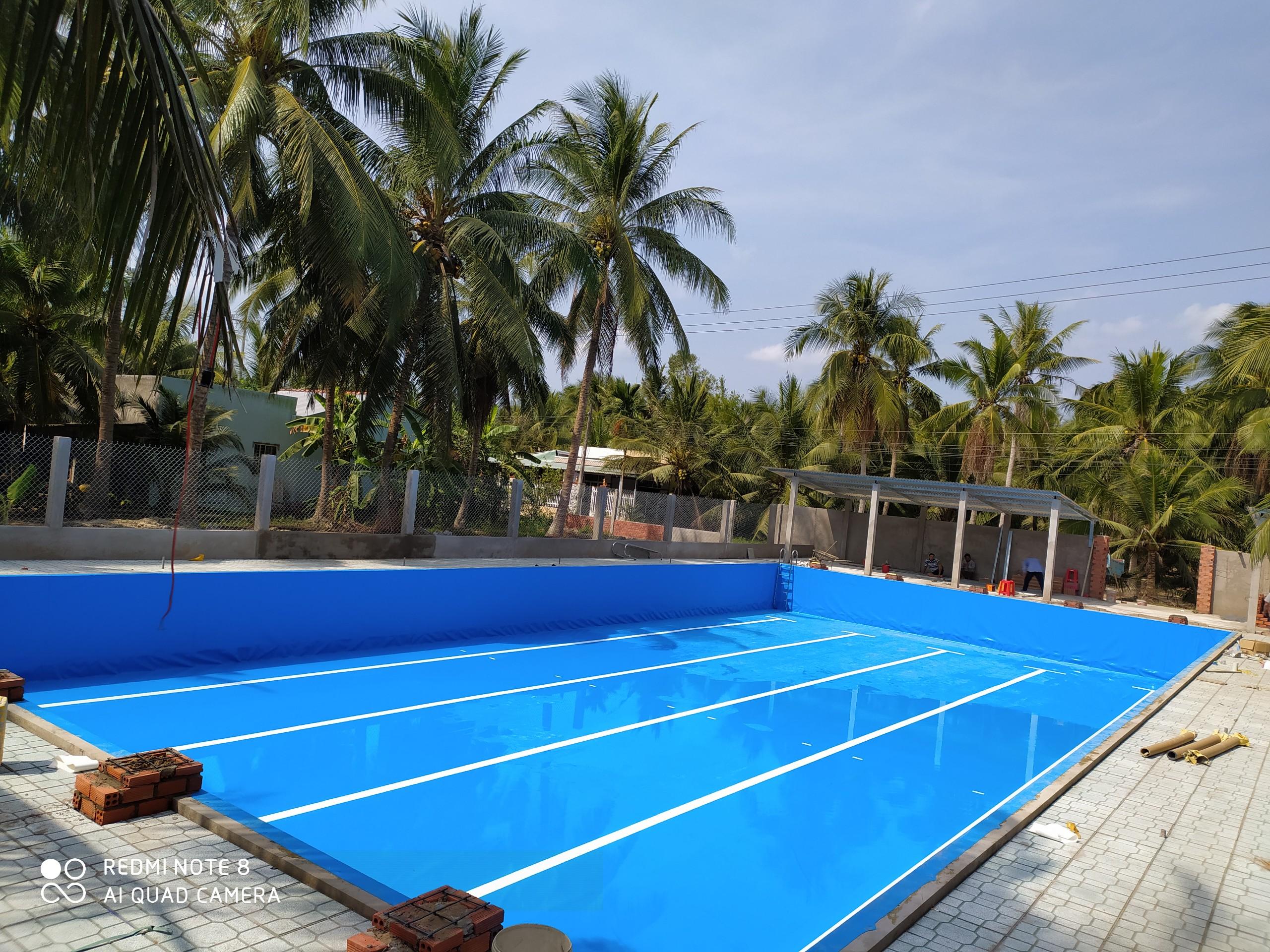 hồ bơi âm lót bạt pvc bền đẹp
