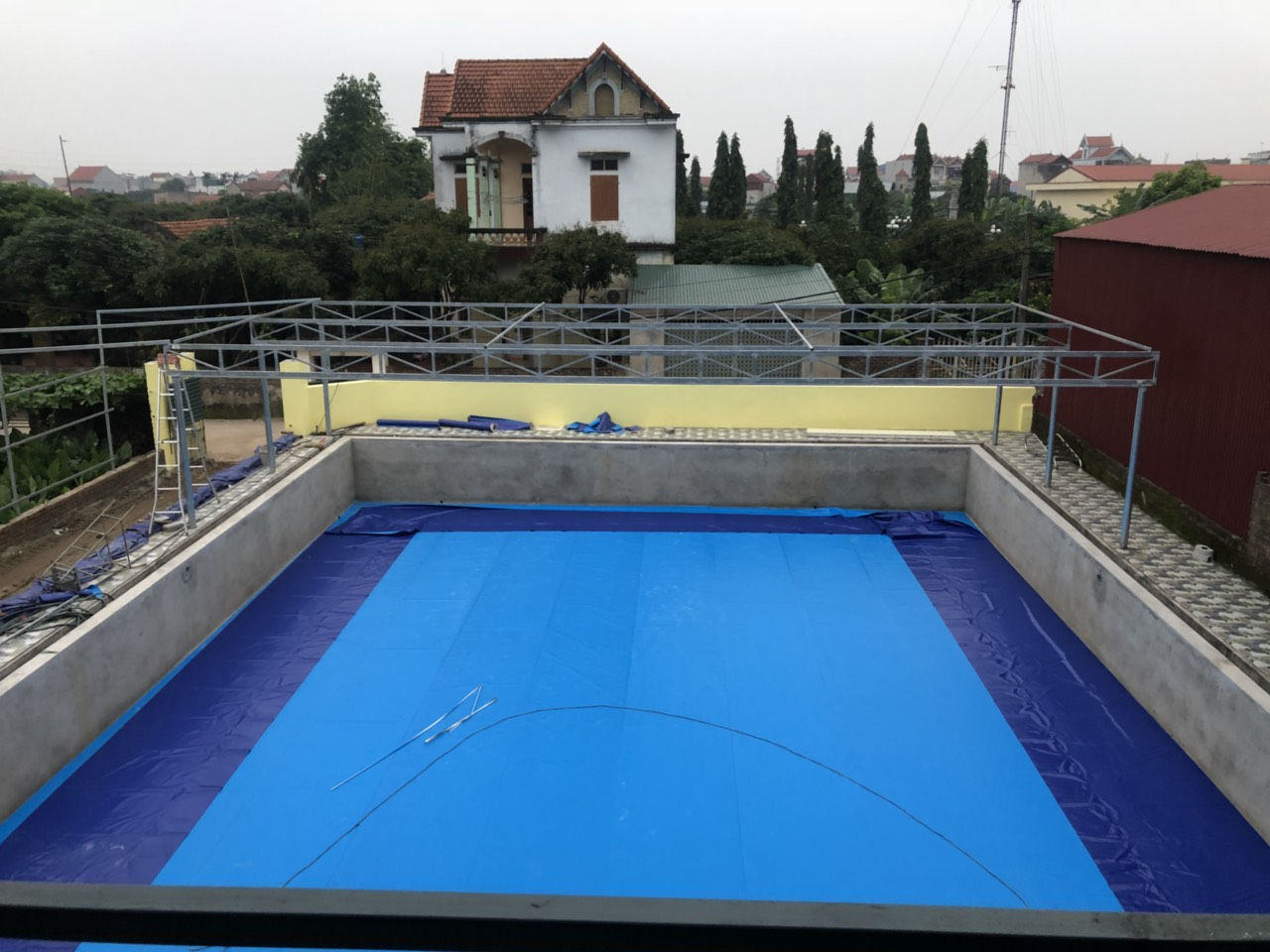 Hồ Bơi Âm Lót Bạt PVC Bền Đẹp 1