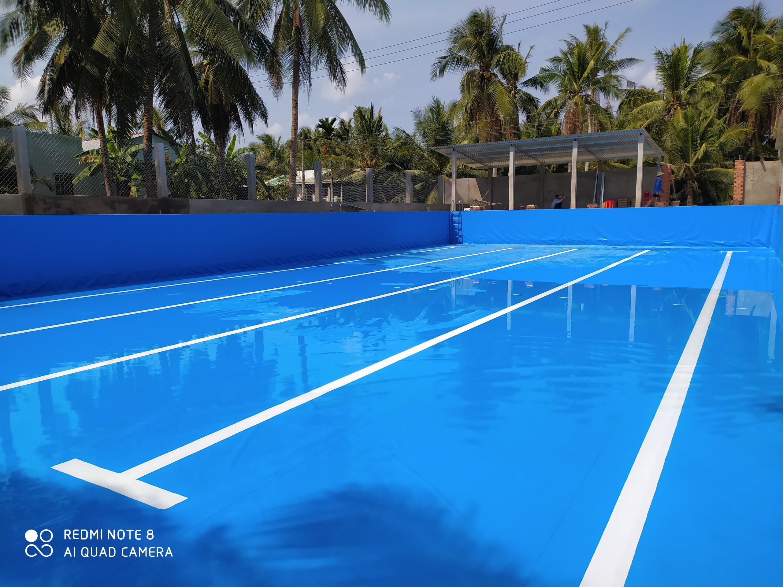 bể bơi âm dán bạt PVC