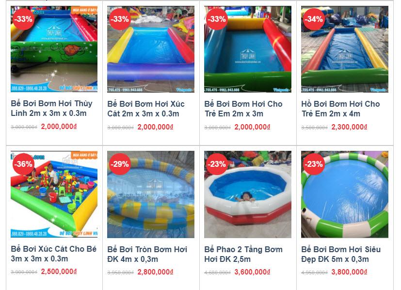 mẫu sản phẩm bể bơi bơm hơi cho trẻ